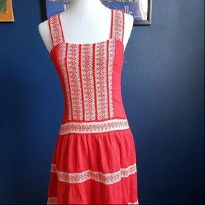 Free People Red Cotton Sun Dress